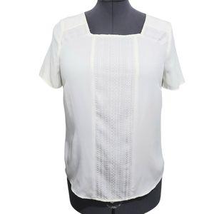 Precis Petite White Short Sleeve Blouse Size 8P